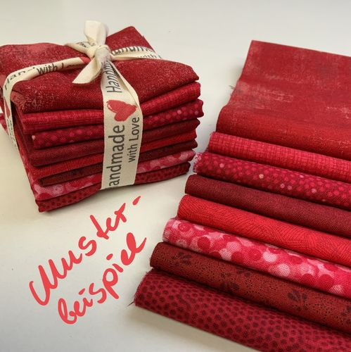 "Stoffpaket ROT Mystery ""Happy Hour"" Insgesamt 60 cm"
